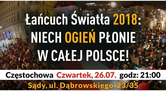 Łańcuch Światła w Częstochowie – 26-07-2018